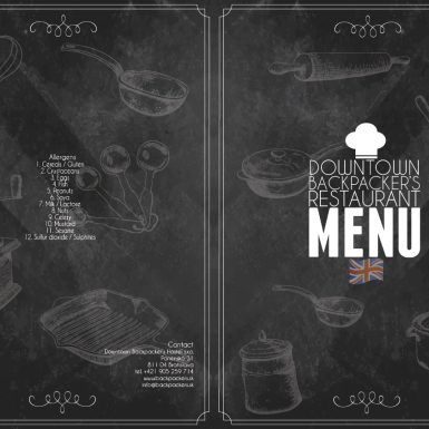MENU 2016, Restauracia Downtown Backpacker's